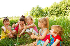 Group of cheerful girls stock image