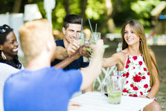Group of cheerful happy people toasting while sitting at a table Royalty Free Stock Photos