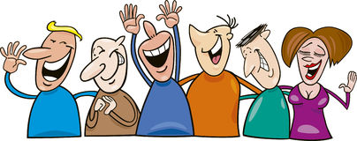 Group of cheerful people. Cartoon  illustration of group of cheerful people Royalty Free Stock Photos