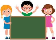 Group of cheerful school children holding an blank school board. Vector illustration stock illustration
