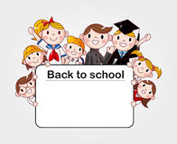 Group of cheerful student holding a banner ad Royalty Free Stock Image