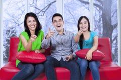 Group of cheerful teenager on sofa Stock Photo