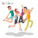Group of cheerful young people jumping together color flat illustration Royalty Free Stock Photos