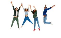 Group of cheerful young people men and women isolated on white background stock images
