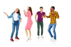 Group of cheerful young people men and women isolated on white background royalty free stock photos