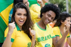 Group of cheering brazilian soccer fans with flag of brazil stock photography