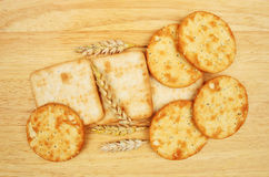 Group of cheese biscuits with wheat Royalty Free Stock Photography
