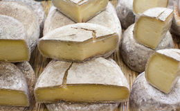 Group of cheese tommes at merchant Stock Photo