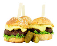 Group Of Cheeseburger Sliders Royalty Free Stock Image