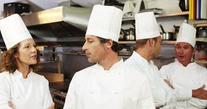 Group of chef talking. Ans smiling at the camera stock footage