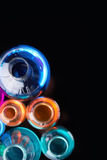 Group of chemical flasks. Glass tubes with multi-color liquids in isolation royalty free stock photos