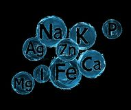 Group of chemical minerals and microelements on black background. stock photos