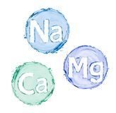 Group of chemical minerals and microelements. Stock Photo