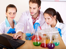 Group chemistry student with flask. Stock Image