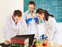 Group chemistry student with flask. Stock Photography