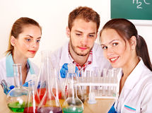 Group chemistry student with flask. Stock Images