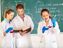 Group chemistry student with flask. Stock Photo
