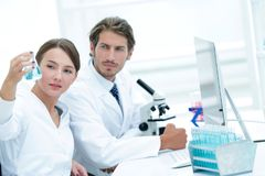 Team of Biologists Researchers Working in Laboratory. Group of chemistry students working in laboratory royalty free stock photography