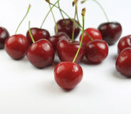 Group of cherries. Cherries on a white background royalty free stock photos