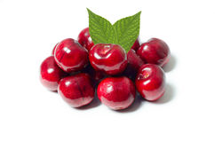 Group of cherries isolated on white background Stock Images
