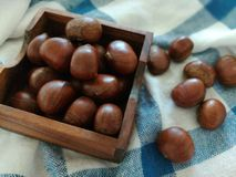 Group of chestnuts. Chestnuts in a bowl on an old wooden table. Chestnuts - fruits horse chestnut. Autumn background. Selective focus Royalty Free Stock Photos