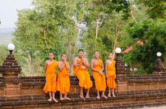 A group of chid monks. LOEI, THAILAND - April 10: A group of chid monks at Wat Neramit Vipasama, Dansai, Loei, Thailand on the April 10, 2015 Royalty Free Stock Photo