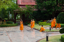 A group of chid monks. LOEI, THAILAND - April 10: A group of chid monks at Wat Neramit Vipasama, Dansai, Loei, Thailand on the April 10, 2015 Royalty Free Stock Images