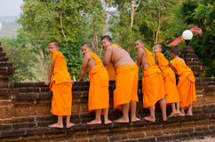 A group of chid monks. LOEI, THAILAND - April 10: A group of chid monks at Wat Neramit Vipasama, Dansai, Loei, Thailand on the April 10, 2015 Stock Image