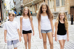 Group of child in urban street Stock Photos