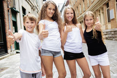Group of child in urban street Stock Photography