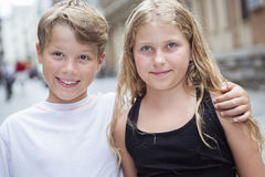 Group of child in urban street Royalty Free Stock Photography