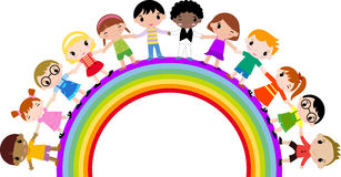Group of children. Illustration of group of children and rainbow Stock Image