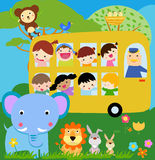 Group of children and animals Stock Images