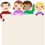 Group of children and banner Stock Photo