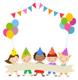 Group of children and birthday party Stock Image