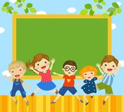 Group of children and blackboard Royalty Free Stock Image