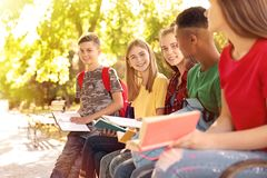 Group of children with books. Summer camp royalty free stock image