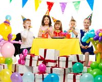 Group of children celebrating birthday Royalty Free Stock Photos