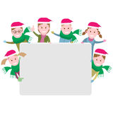 Group of children with a Christmas banner. Illustration of kids on a white background Royalty Free Stock Images