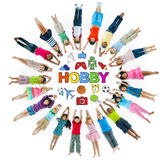Group of Children Circle with Hobby Symbols Stock Photo