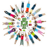 Group of Children Circle with Hobby Symbols Royalty Free Stock Image