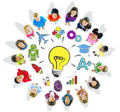 Group of Children Circle with Light Bulb Stock Photography
