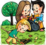 A group of children cleaning the park/garden. Vector illustration. Royalty Free Illustration