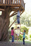 Group Of Children Climbing Rope Ladder To Treehouse Royalty Free Stock Image