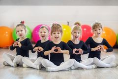 A group of children in dance classes. The concept of sport, education, childhood, hobbies and dance.  stock photography