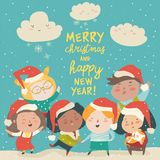 Group of children different nationalities in christmas costumes. Vector illustration royalty free illustration