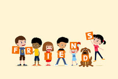 Group of children and a dog holding letters saying friends. Cute diverse cartoon illustration of little girls and boys Stock Photos