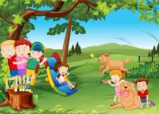 Group of children and dogs playing in the park. Illustration royalty free illustration