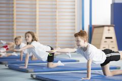 Children doing gymnastics. Group of children doing gymnastics on blue mats during physical education class at school Royalty Free Stock Photography