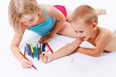 Group of children drawing Royalty Free Stock Photography